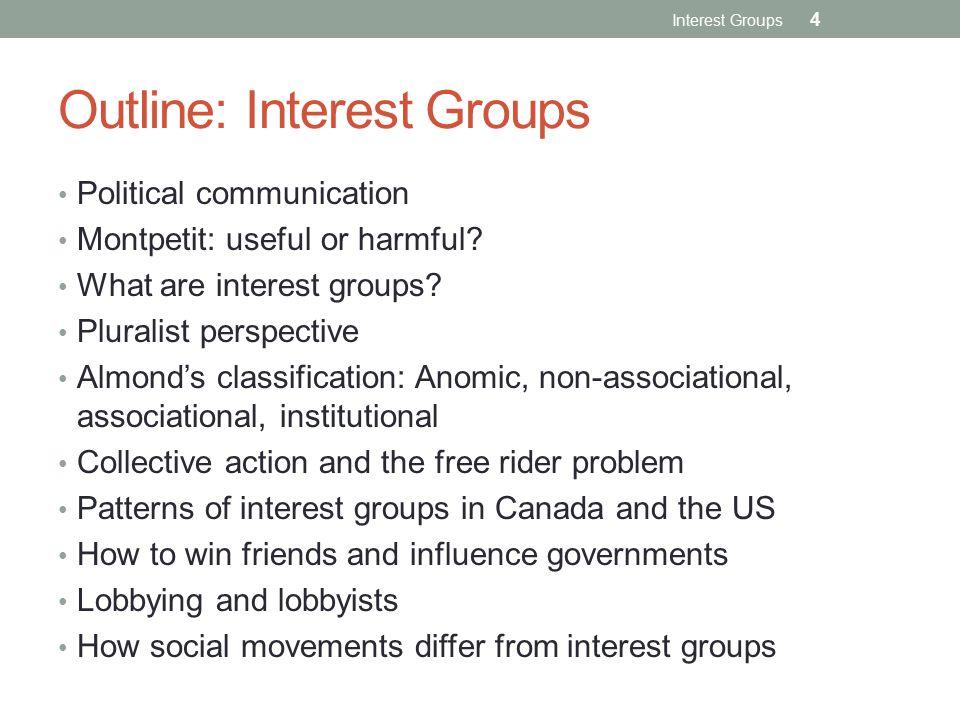Outline: Interest Groups Political communication Montpetit: useful or harmful.