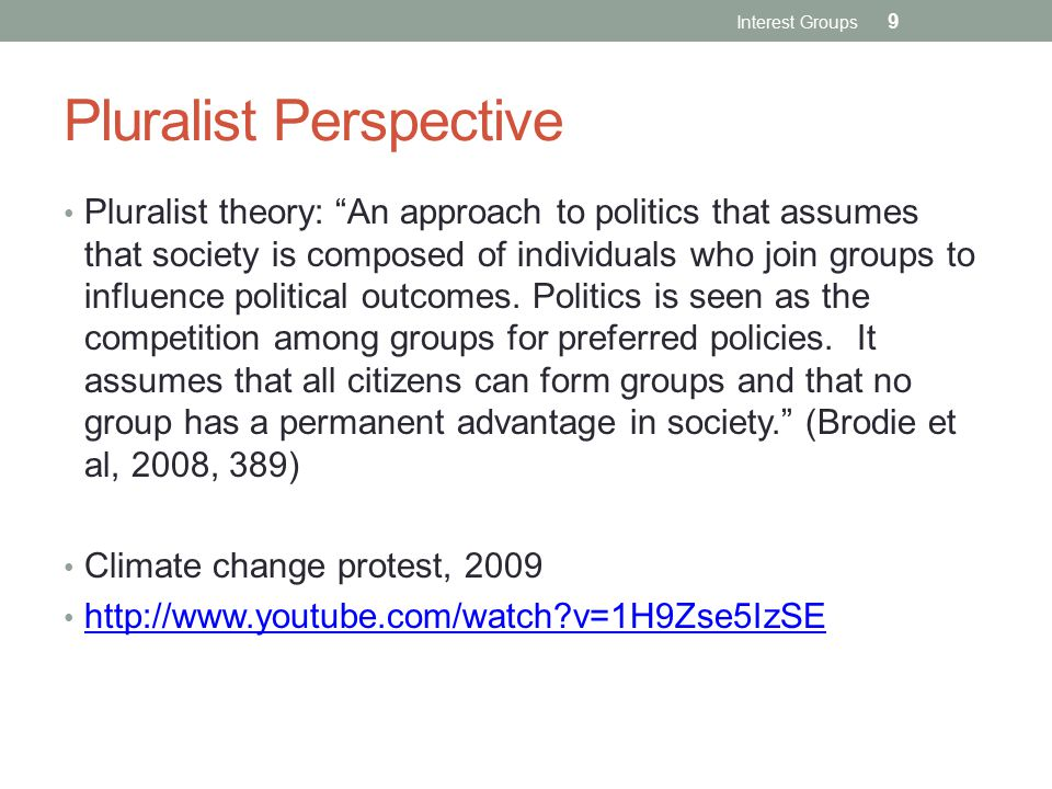 Pluralist Perspective Pluralist theory: An approach to politics that assumes that society is composed of individuals who join groups to influence political outcomes.