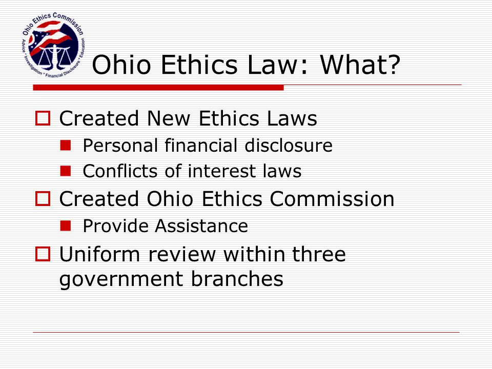 Ohio Ethics Law: Who.