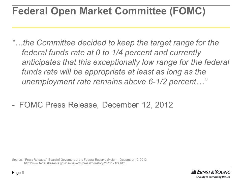 "Page 6 Federal Open Market Committee (FOMC) ""…the Committee decided to keep the target range for the federal funds rate at 0 to 1/4 percent and curren"