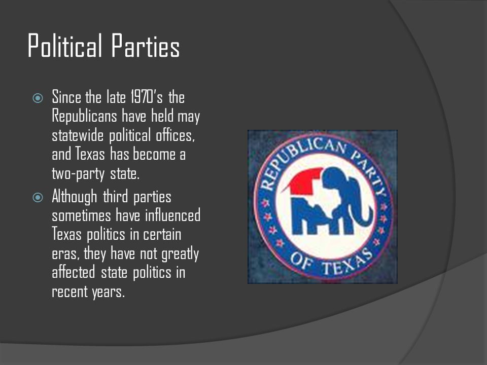 Political Parties  Since the late 1970's the Republicans have held may statewide political offices, and Texas has become a two-party state.  Althoug