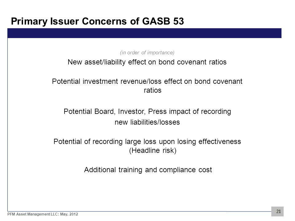 21 PFM Asset Management LLC: May, 2012 Primary Issuer Concerns of GASB 53 (in order of importance) New asset/liability effect on bond covenant ratios Potential investment revenue/loss effect on bond covenant ratios Potential Board, Investor, Press impact of recording new liabilities/losses Potential of recording large loss upon losing effectiveness (Headline risk) Additional training and compliance cost