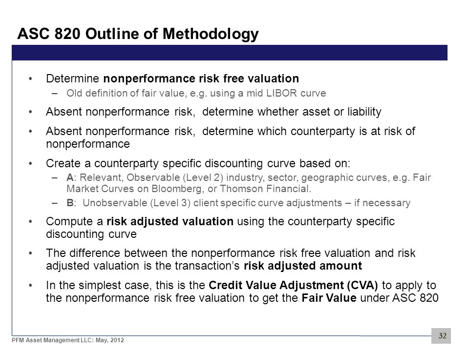 32 PFM Asset Management LLC: May, 2012 ASC 820 Outline of Methodology Determine nonperformance risk free valuation –Old definition of fair value, e.g.