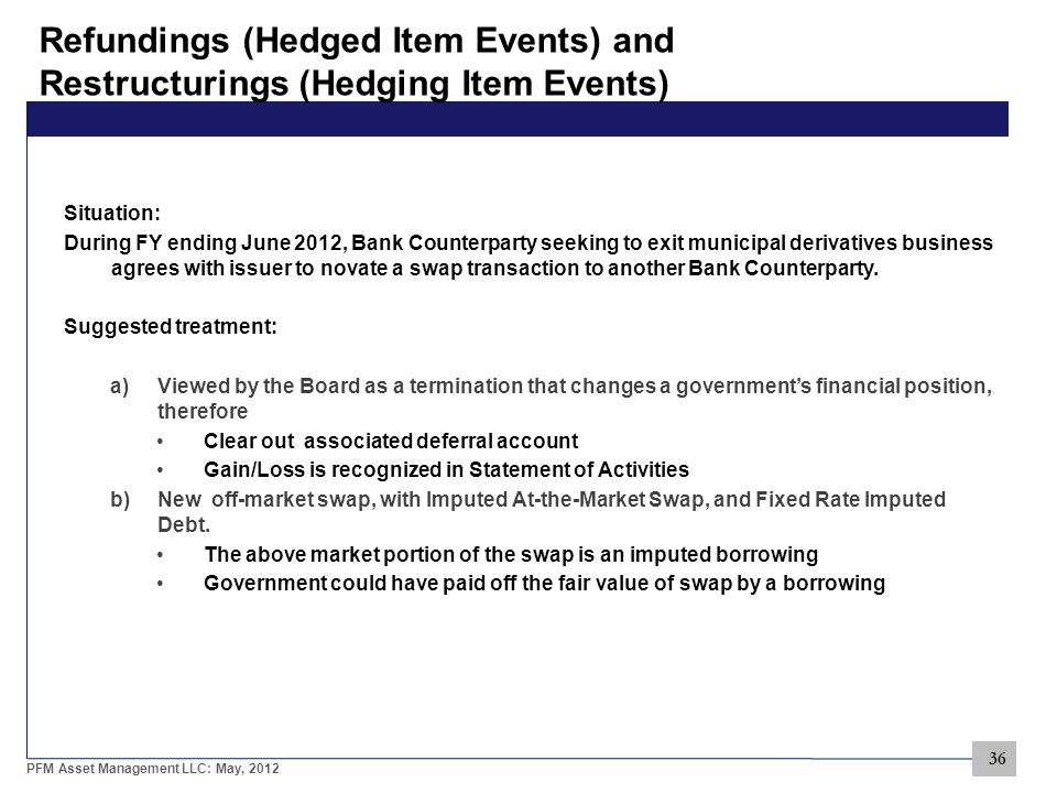 36 PFM Asset Management LLC: May, 2012 Refundings (Hedged Item Events) and Restructurings (Hedging Item Events) Situation: During FY ending June 2012, Bank Counterparty seeking to exit municipal derivatives business agrees with issuer to novate a swap transaction to another Bank Counterparty.