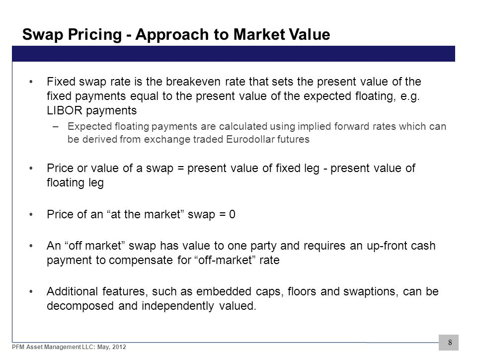 8 PFM Asset Management LLC: May, 2012 Swap Pricing - Approach to Market Value Fixed swap rate is the breakeven rate that sets the present value of the fixed payments equal to the present value of the expected floating, e.g.