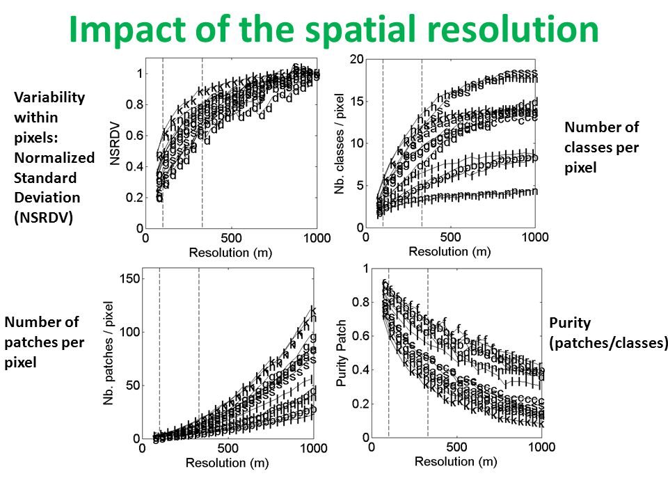Impact of the spatial resolution Variability within pixels: Normalized Standard Deviation (NSRDV) Number of patches per pixel Number of classes per pixel Purity (patches/classes)