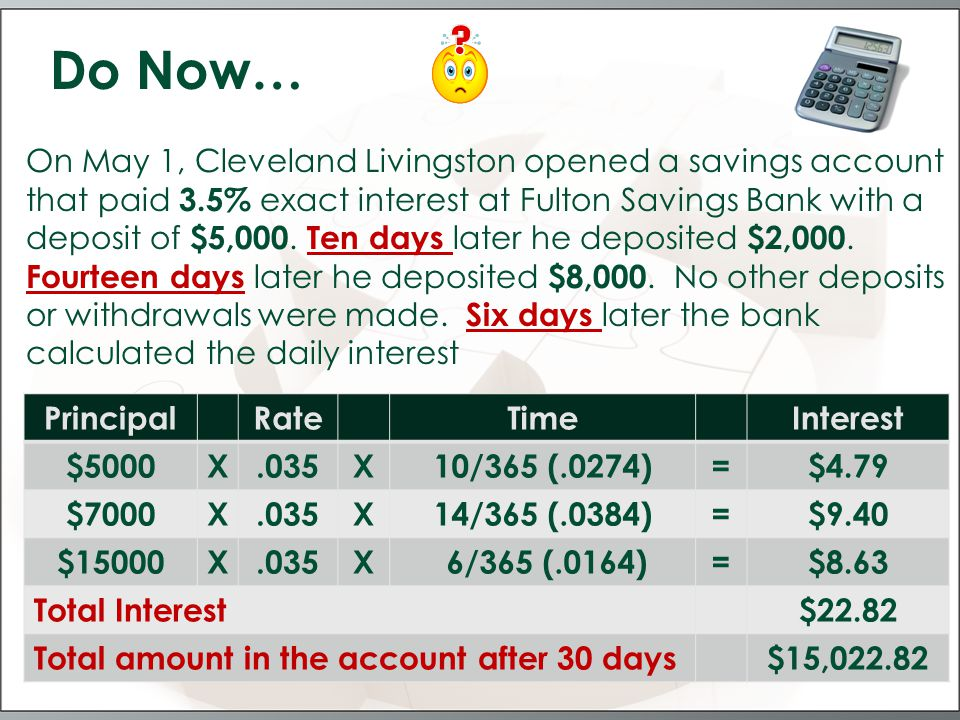 COMPOUND INTEREST is the interest paid on the original principal and on any interest that has been left in the account.
