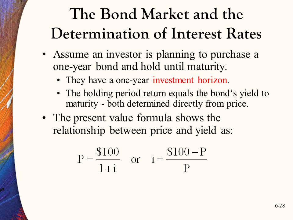 6-28 Assume an investor is planning to purchase a one-year bond and hold until maturity. They have a one-year investment horizon. The holding period r
