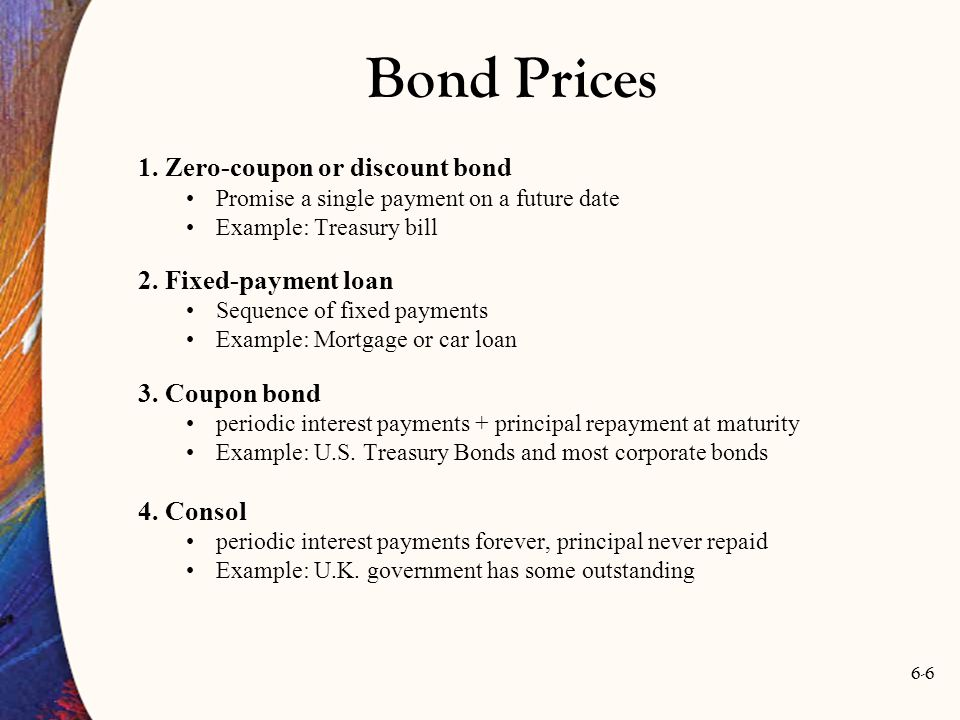 6-6 Bond Prices 1. Zero-coupon or discount bond Promise a single payment on a future date Example: Treasury bill 2. Fixed-payment loan Sequence of fix