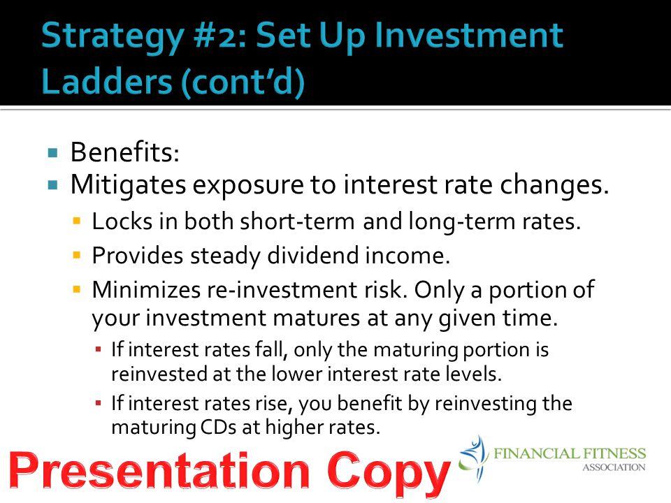  Benefits:  Mitigates exposure to interest rate changes.
