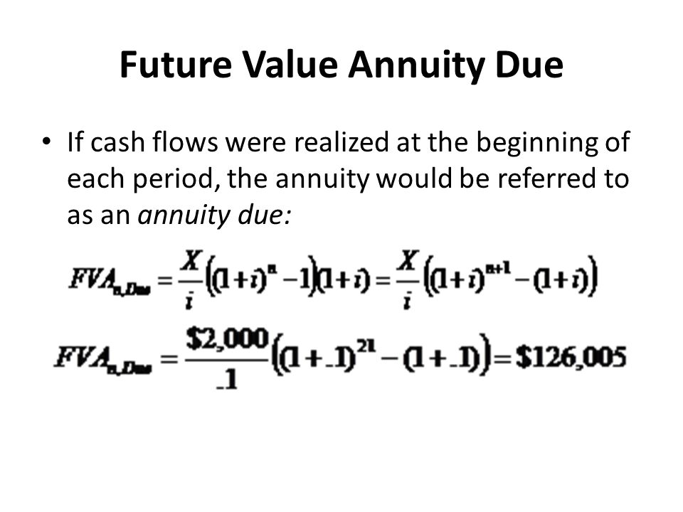 Future Value Annuity Due If cash flows were realized at the beginning of each period, the annuity would be referred to as an annuity due: