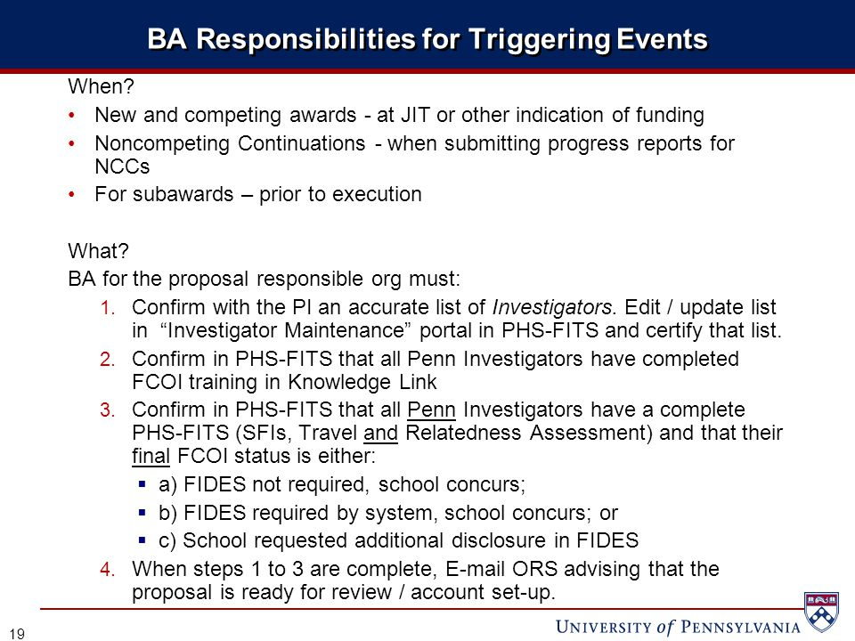 BA Responsibilities for Triggering Events When.