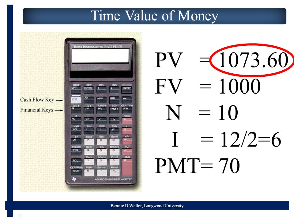 Bennie D Waller, Longwood University Time Value of Money PV = 1073.60 FV = 1000 N = 10 I = 12/2=6 PMT= 70