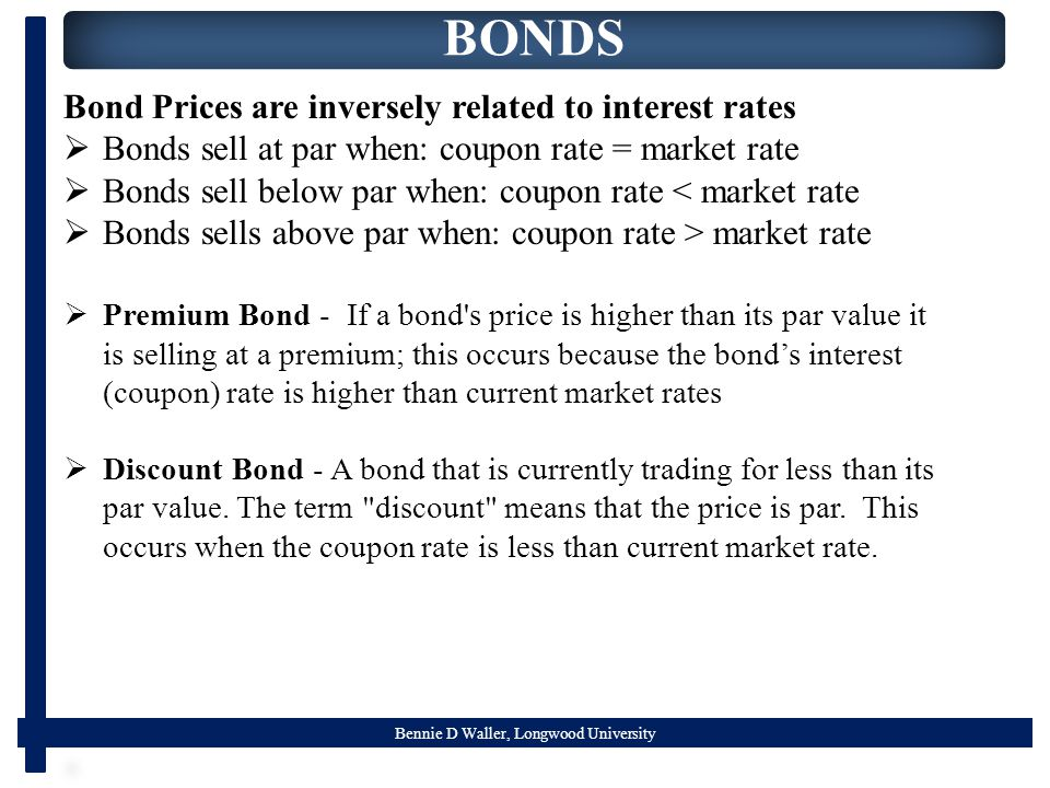 Bennie D Waller, Longwood University BONDS Bond Prices are inversely related to interest rates  Bonds sell at par when: coupon rate = market rate  B