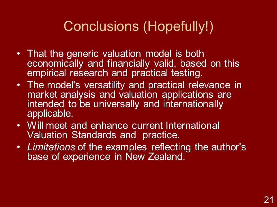 20 Empirical testing & application The generic model is applied to commercial occupational leased properties and ground leaseholds. Empirical research