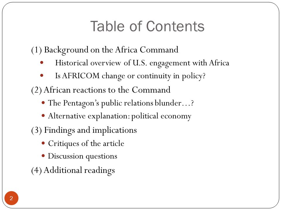 Table of Contents (1) Background on the Africa Command Historical overview of U.S.