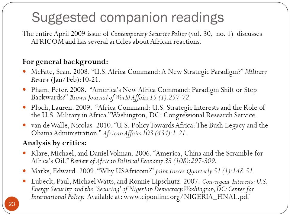 Suggested companion readings 23 The entire April 2009 issue of Contemporary Security Policy (vol.