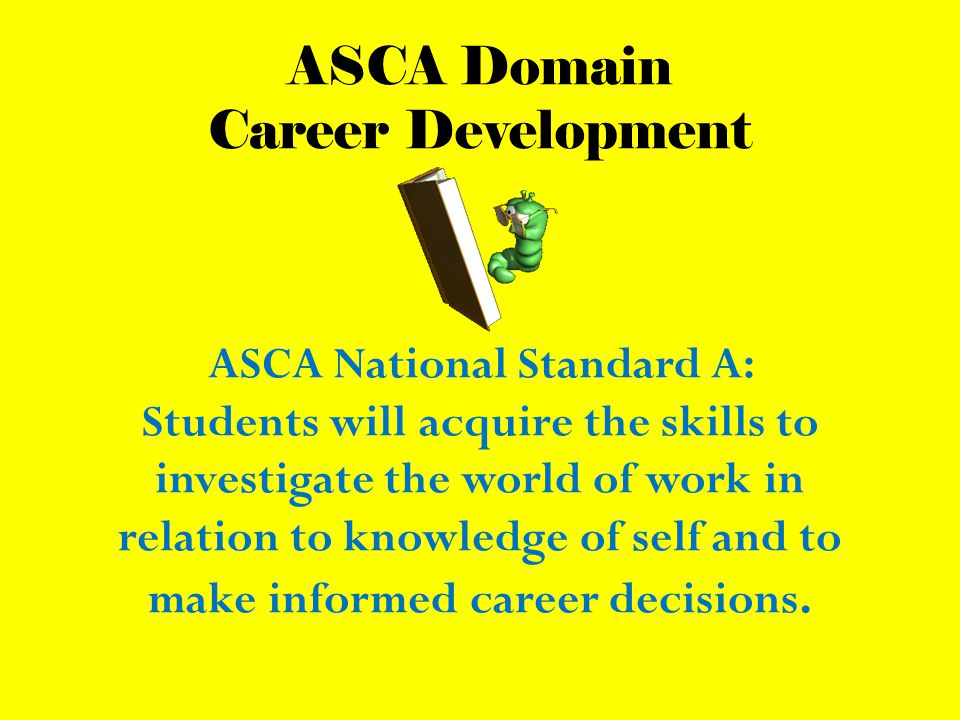 ASCA Domain Career Development ASCA National Standard A: Students will acquire the skills to investigate the world of work in relation to knowledge of self and to make informed career decisions.
