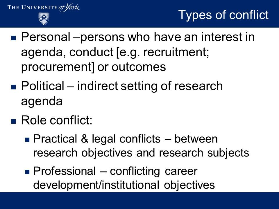 Effects of conflict On validity or integrity of research Scope/research questions Methods Findings On research subjects On other researchers/students On wider public interest