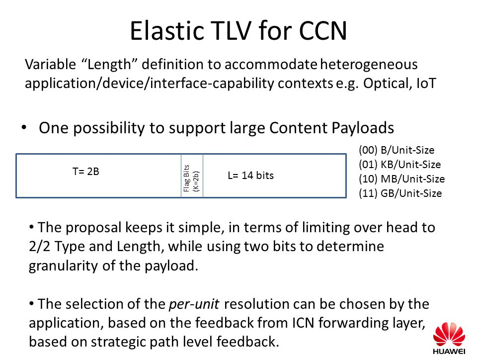 Elastic TLV for CCN One possibility to support large Content Payloads T= 2B (00) B/Unit-Size (01) KB/Unit-Size (10) MB/Unit-Size (11) GB/Unit-Size Fla