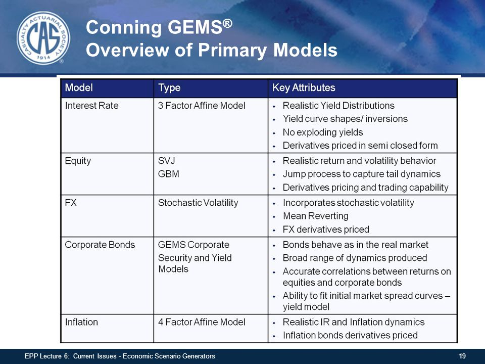 Conning GEMS ® Overview of Primary Models 19EPP Lecture 6: Current Issues - Economic Scenario Generators