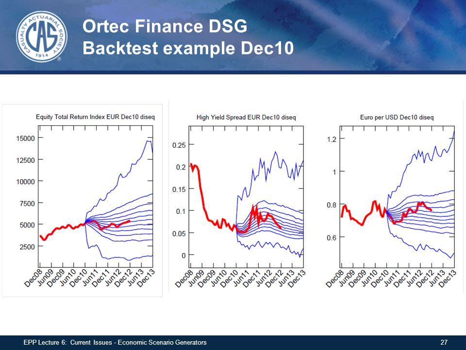 Ortec Finance DSG Backtest example Dec10 27EPP Lecture 6: Current Issues - Economic Scenario Generators