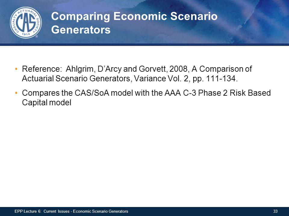 Comparing Economic Scenario Generators Reference: Ahlgrim, D'Arcy and Gorvett, 2008, A Comparison of Actuarial Scenario Generators, Variance Vol.