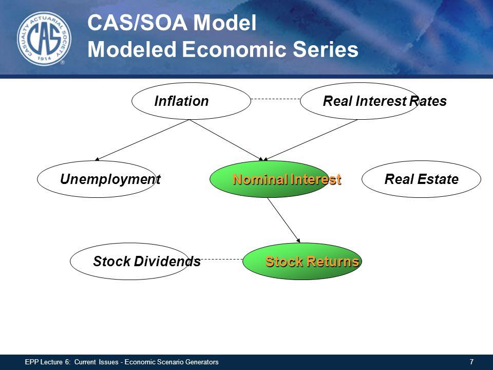 CAS/SOA Model Modeled Economic Series InflationReal Interest Rates Real EstateUnemployment Nominal Interest Stock Returns Stock Dividends 7EPP Lecture 6: Current Issues - Economic Scenario Generators
