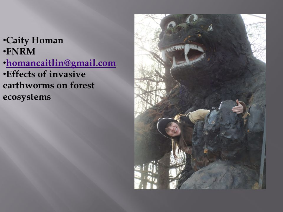 Caity Homan FNRM homancaitlin@gmail.com Effects of invasive earthworms on forest ecosystems