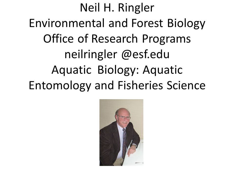 Neil H. Ringler Environmental and Forest Biology Office of Research Programs neilringler @esf.edu Aquatic Biology: Aquatic Entomology and Fisheries Sc