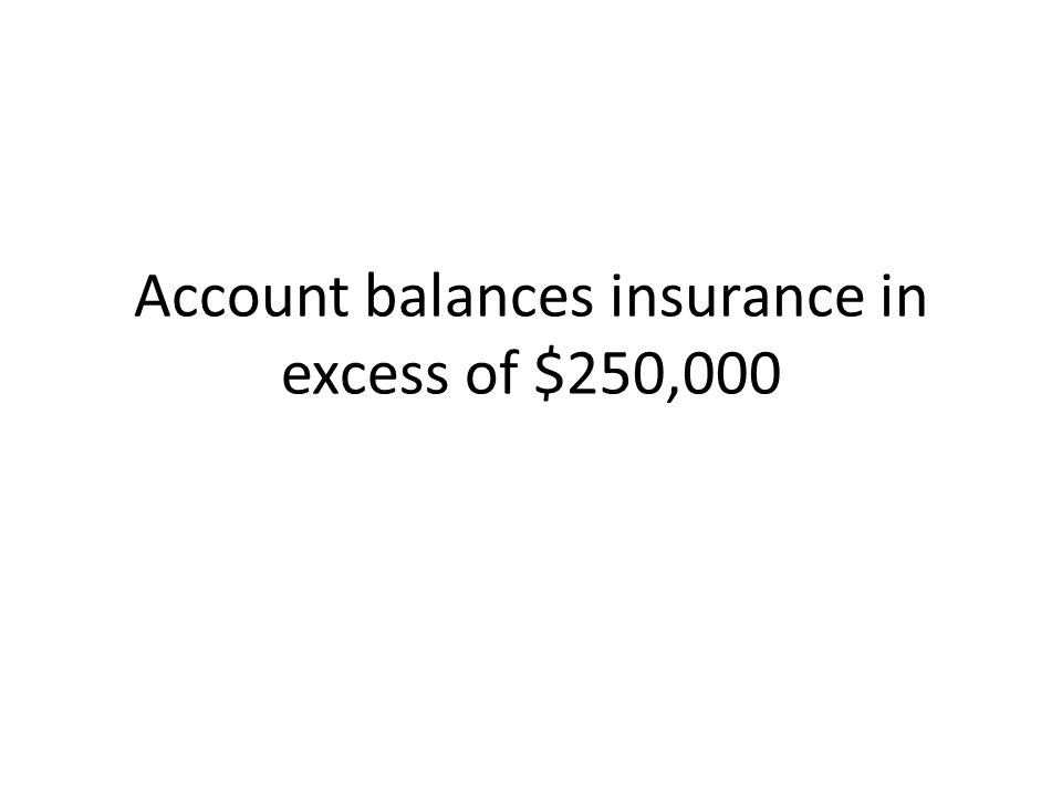 Account balances insurance in excess of $250,000