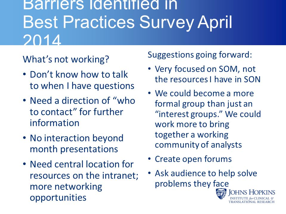 "Barriers Identified in Best Practices Survey April 2014 What's not working? Don't know how to talk to when I have questions Need a direction of ""who t"