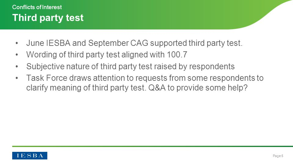 Page 5 June IESBA and September CAG supported third party test.