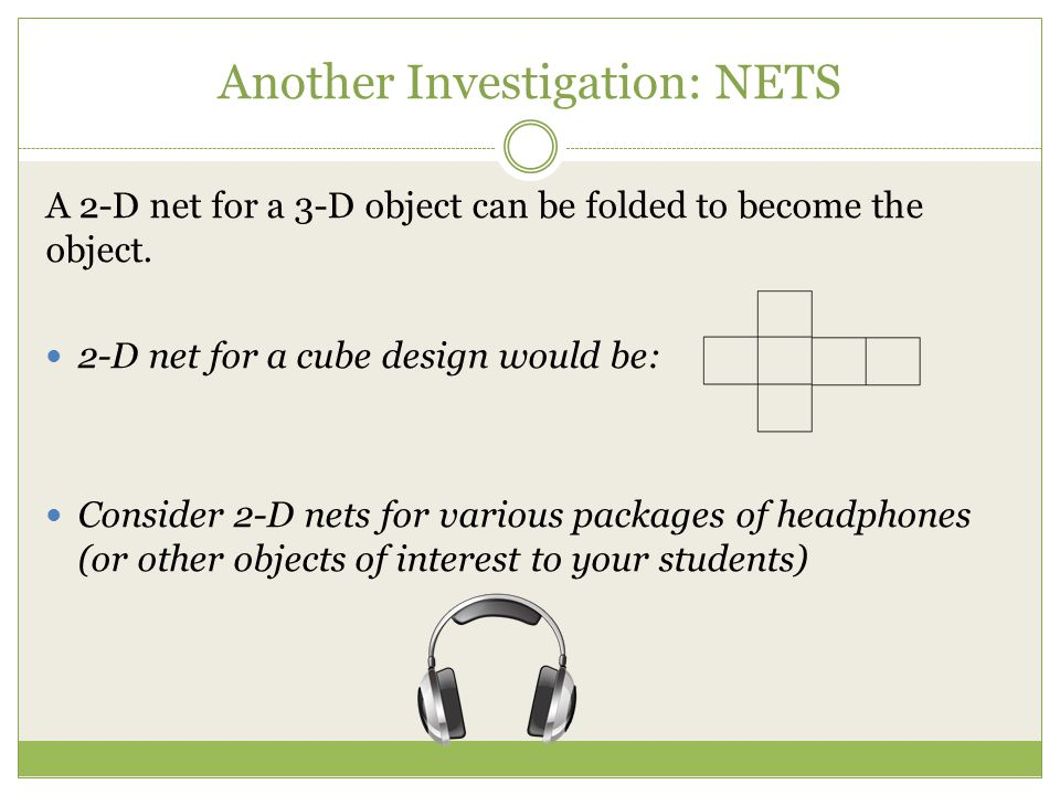 Another Investigation: NETS A 2-D net for a 3-D object can be folded to become the object. 2-D net for a cube design would be: Consider 2-D nets for v