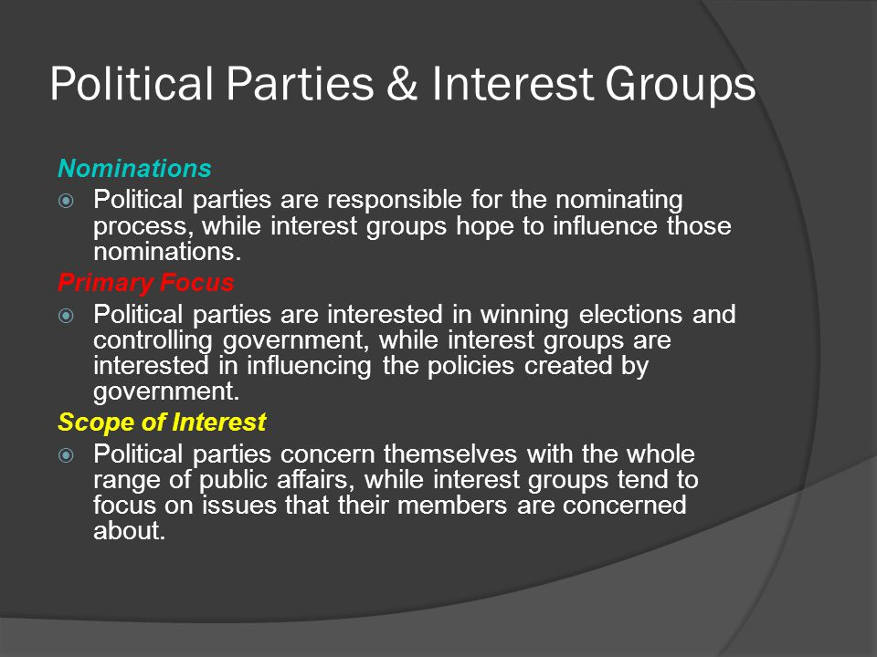 Political Parties & Interest Groups Nominations  Political parties are responsible for the nominating process, while interest groups hope to influenc