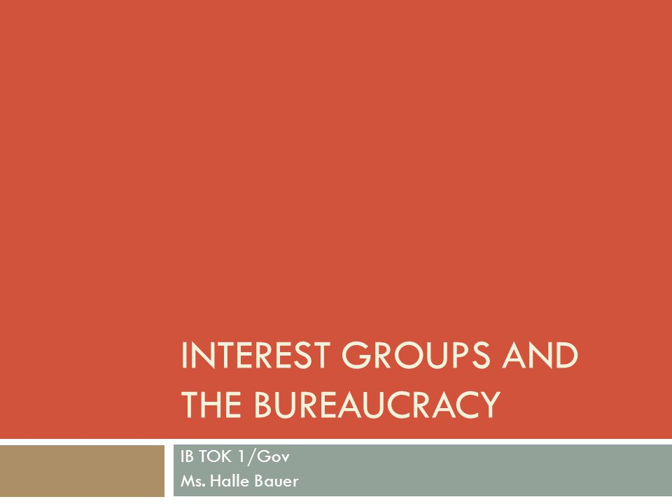 THE BUREAUCRACY A large, complex organization of appointed officials