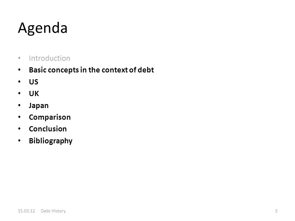 Agenda Introduction Basic concepts in the context of debt US UK Japan Comparison Conclusion Bibliography 15.03.12 Debt History3
