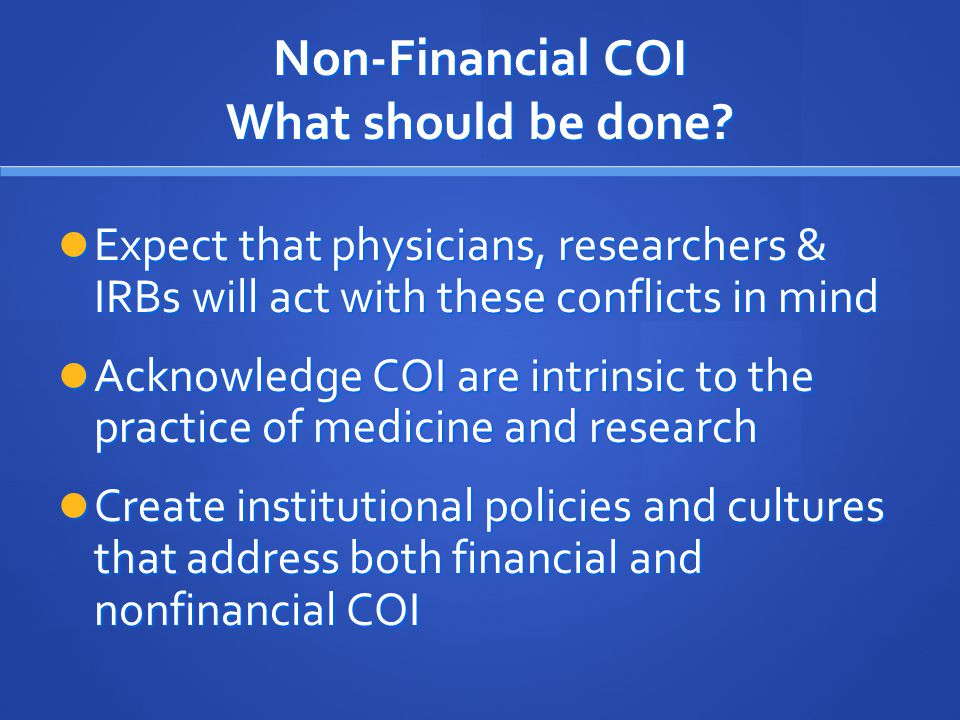 Non-Financial COI What should be done.