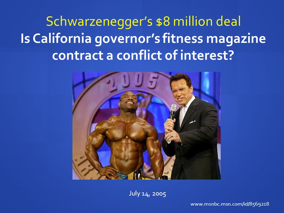 Schwarzenegger's $8 million deal Is California governor's fitness magazine contract a conflict of interest.
