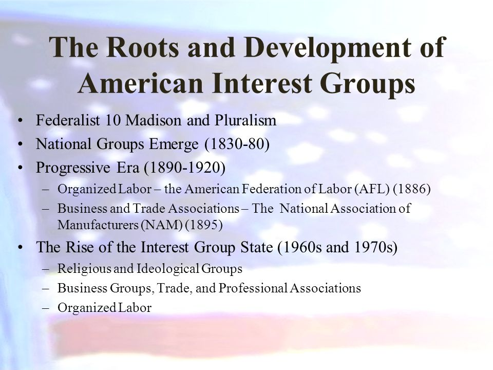 The Roots and Development of American Interest Groups Federalist 10 Madison and Pluralism National Groups Emerge (1830-80) Progressive Era (1890-1920)