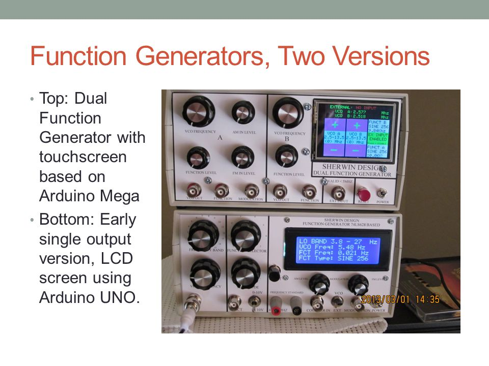 Function Generators, Two Versions Top: Dual Function Generator with touchscreen based on Arduino Mega Bottom: Early single output version, LCD screen