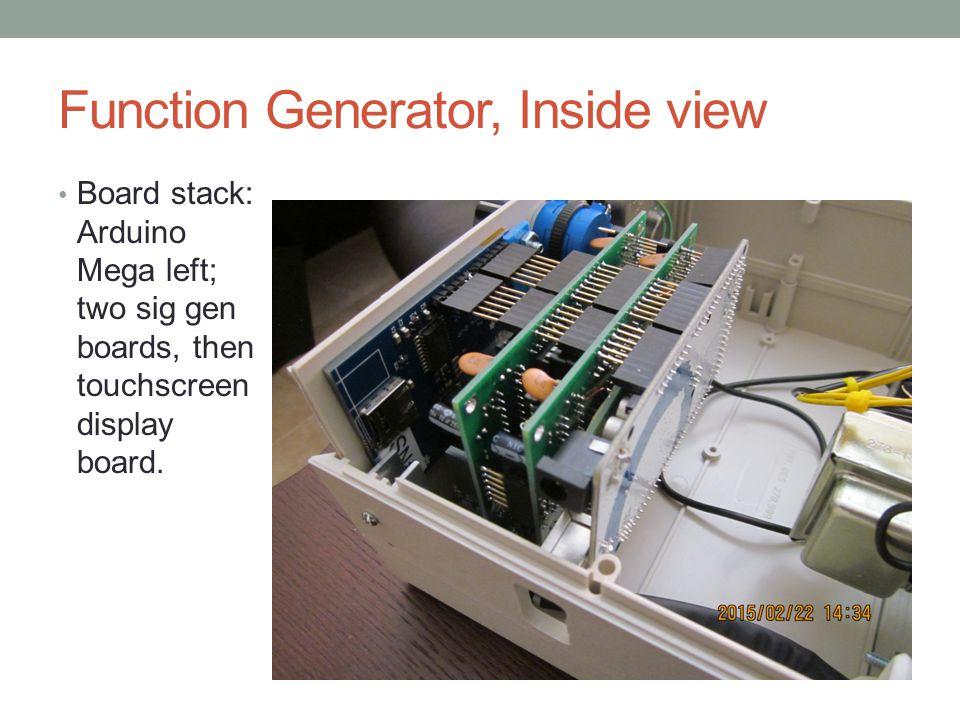 Function Generator, Inside view Board stack: Arduino Mega left; two sig gen boards, then touchscreen display board.