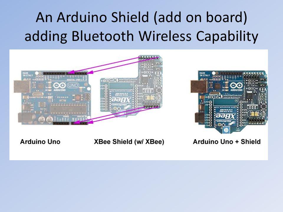 An Arduino Shield (add on board) adding Bluetooth Wireless Capability