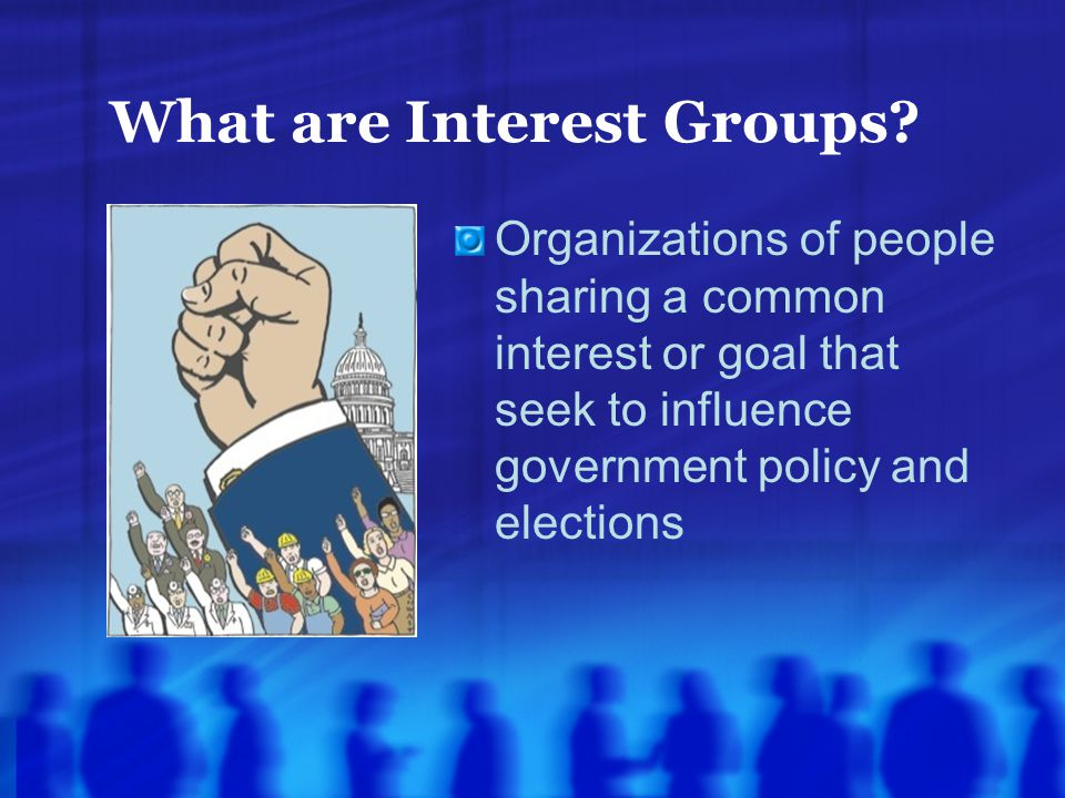 What are Interest Groups? Organizations of people sharing a common interest or goal that seek to influence government policy and elections