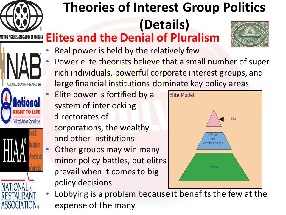 Theories of Interest Group Politics (Details) Elites and the Denial of Pluralism Power elite theorists point to the recent financial crisis to illustrate their view of the close relationship between Wall Street interests and Washington policymakers While ordinary Americans received small stimulus checks, Wall Street banks received enormous federal bailouts As noted by the American Political Science Association, Citizens with lower to moderate incomes speak with a whisper that is lost in the ears of inattentive government officials, while the advantaged roar with a clarity and consistency that policymakers readily hear and routinely follow.