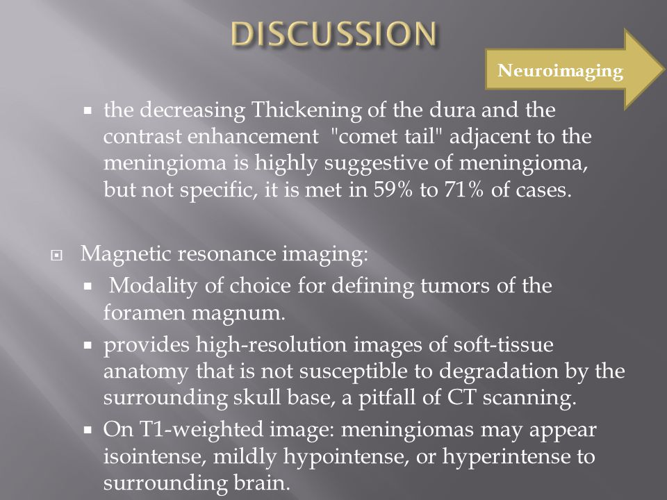  the decreasing Thickening of the dura and the contrast enhancement