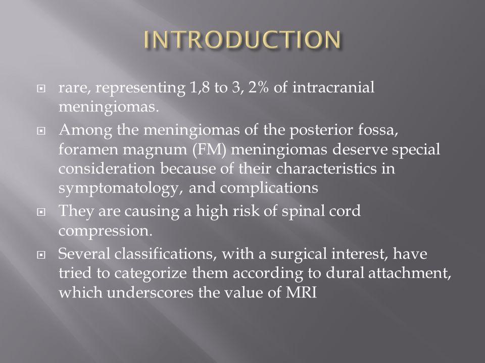  rare, representing 1,8 to 3, 2  % of intracranial meningiomas.