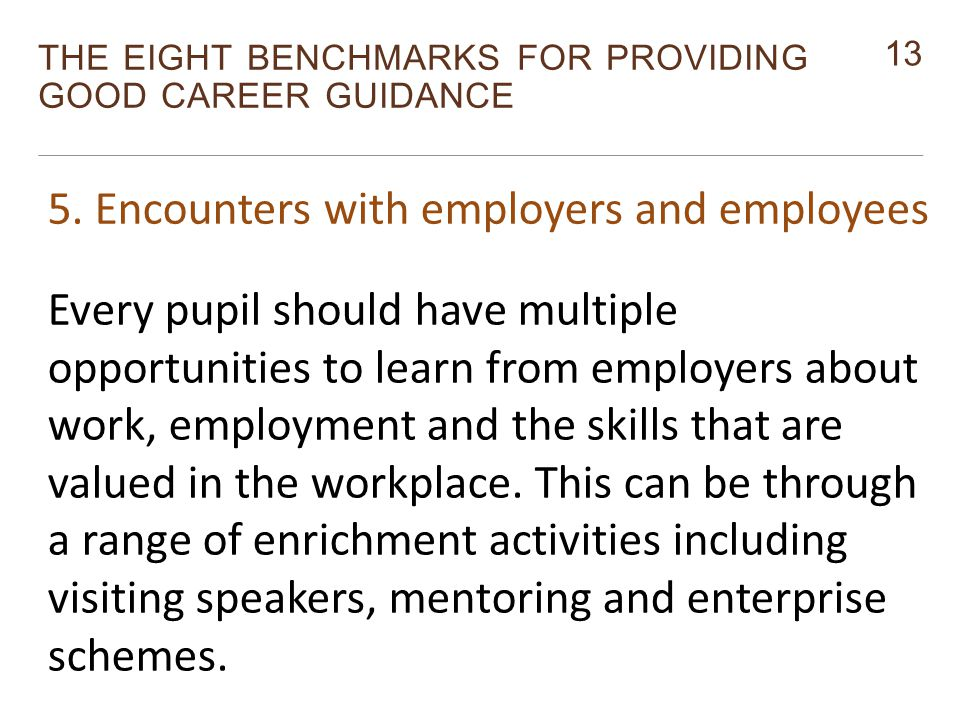 13 THE EIGHT BENCHMARKS FOR PROVIDING GOOD CAREER GUIDANCE Monitor 5.