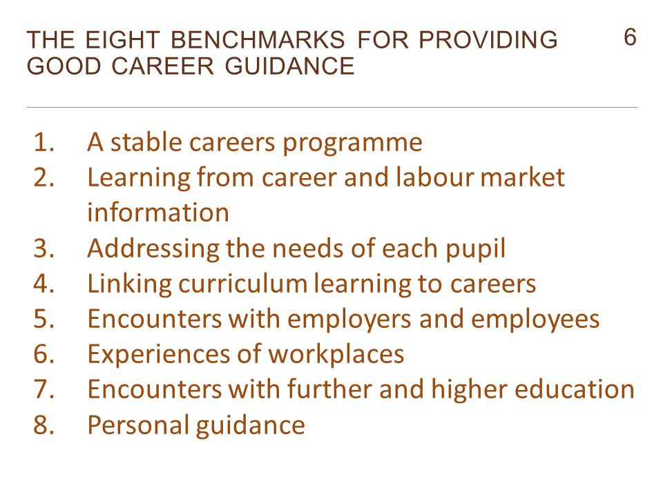 6 THE EIGHT BENCHMARKS FOR PROVIDING GOOD CAREER GUIDANCE Monitor 1.A stable careers programme 2.Learning from career and labour market information 3.Addressing the needs of each pupil 4.Linking curriculum learning to careers 5.Encounters with employers and employees 6.Experiences of workplaces 7.Encounters with further and higher education 8.Personal guidance