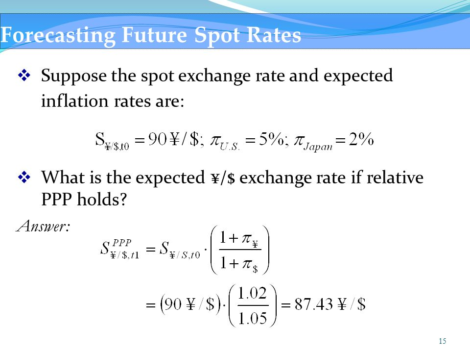15 Forecasting Future Spot Rates  Suppose the spot exchange rate and expected inflation rates are:  What is the expected ¥/$ exchange rate if relati